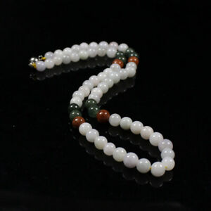 18 inch Certified Natural Grade A Jadeite Multi-Color 7.5mm Bead Necklace z1304