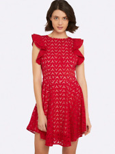 Oxford Womens Red Roella Lace Mini Dress, AU Size 10 BNWT