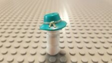 New Lego Minifig Headgear Hat, Floppy Brim w/ Knotted Tan Band Pattern Turquoise
