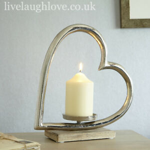 Cast Metal Large Silvered Heart Candle Holder On Wooden Plinth