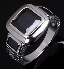 Sapphire Fashion 18K Gold Filled Rings Engagement Luxury Size 10 Mens Black