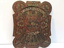 Vintage Metal Slider Calendar for 1934-1970, Painted Enameled w/Flower Design