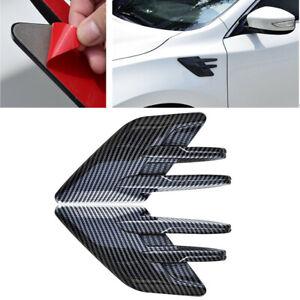 Carbon Fiber Style Car Side Air Flow Intake Hood Trim Vent Bonnet Cover Decor 2x
