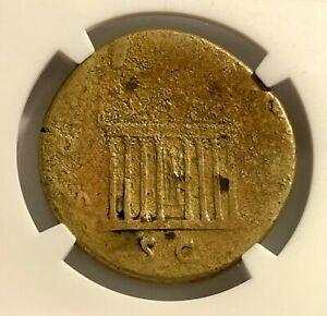 Trajan (AD 98-117) Æ Sestertius, Octostyle Temple Reverse - NGC