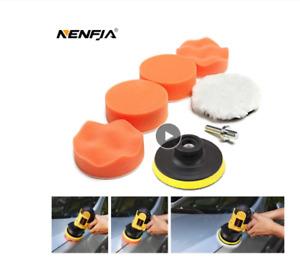"7pcs 3"" Car Sponge Polishing Pad Set Buffer Headlight Waxing Adapter Drill Kit"