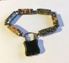 Antique Vintage Silver Scottish Bracelet With Agates And Lock