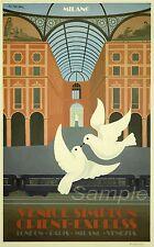 Vintage Orient Express Milán Ferrocarril A3 cartel impresión