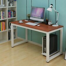 Home Workstation Office Desk Study Student Table Writing Metal Laptop Brown
