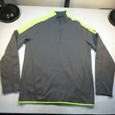 UNDER ARMOUR 1/4 ZIP ATHLETIC PULLOVER SWEATSHIRT Sz Mens M Gray W Yellow