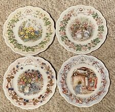 �Rare Htf Royal Doulton Brambly Hedge 4 Plate Season Set - Collector Items Mint�