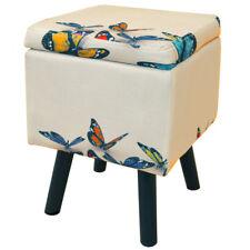 papillon - contemporain rétro carré rembourré stockage tabouret - multi och7018