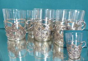 6 Teeglashalter, 800 er Silber Floral, 465 gr Silber ohne Glas