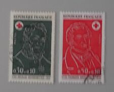 France année 1972 1735 1736 oblitérés croix rouge cachets ronds