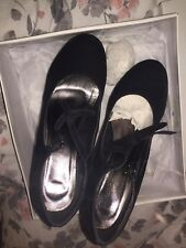 Koi Couture Platform WedgE Shoes Bow Suede Size 7 Mary Jane Quiz *EXCELLENT*