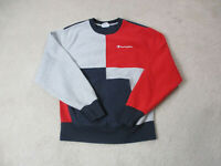 VINTAGE Champion Sweater Adult Medium Red Blue Reverse Weave Spell Out Mens 90s