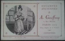 Carte de visite+Geoffroy+estampes anciennes+rue blanche,Paris,A.Geoffroy