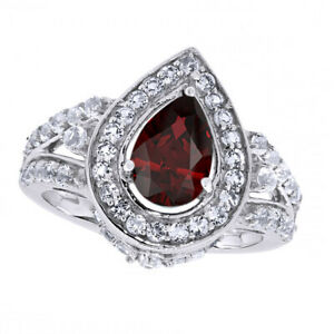 1.8 Ct Pear Cut Red Ruby & White Topaz 14K Gold Over Halo Engagement Ring