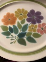 """Vintage 1970's Franciscan Earthenware Interpace Floral Large Platter 13 3/4"""""""