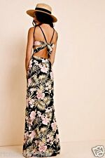NEW For Love And Lemons black pink yellow tie open back Print Palm Maxi Dress S