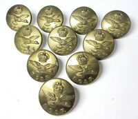 Lot of (10) Vintage WWII Era RCAF Canadian Air Force Brass Uniform Buttons B14