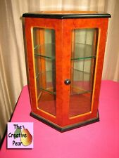 "Silvestri Tabletop Curio Display Cabinet 12"" Wood Hexagon w 2 Glass Shelves USA"