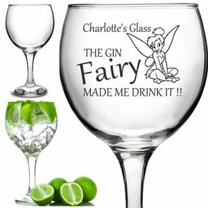 Personalised Engraved 63cl Large Tall stem GIN glass TINKERBELL FAIRY PINK GIN