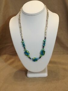 Art Glass necklace colorful lime aqua ocean colors tropical seed beads classy