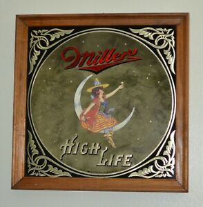 Miller High Life Beer Bar Mirror Sign Girl On Moon 1980s  Vintage