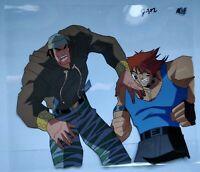 Set of 3 Street Fighter Animated Series Cartoon Cel Capcom Ken & Ryu Gang Style