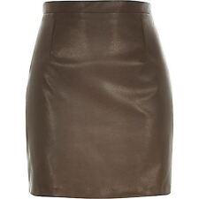 RI Marrón piel de imitación falda en A REINO UNIDO 14