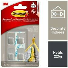 3M Command Small Stainless Steel Metal Hooks Clips Self-Adhesive Strips 4 Pack