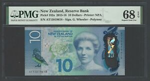New Zealand 10 Dollars (2015-16) P192a Uncirculated Graded 68