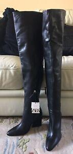 Zara Geometric XL Extra Long Leg Over The Knee Black Leather Boots Size 3 BNWT