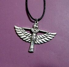 Egyptian Winged Goddess Isis Antique Silver Pendant Adjustable Necklace