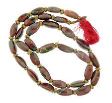Vintage Large Bloodstone Bead Necklace Long Strand 36