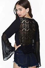 Maglia maglietta scollo aperta Trasparente Svasata T-shirt Mesh Lace Blouse Top