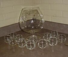 PRINCESS HOUSE Crystal Brandy Snifter Punch Bowl Set #436 Roly Poly Punch Cups