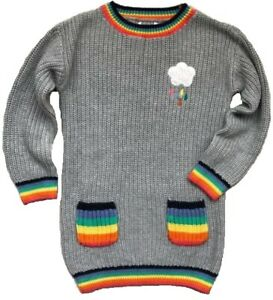 NEW IN! LOVELY Girls NEXT Grey Knitted Rainbow Cloud Jumper Dress 6 months - 6y
