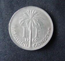 Munt Congo Belge/Belgisch Kongo: 1 F 1926 (vlamse legende)