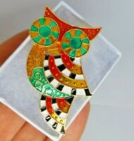 Owl bird brooch black white multi colour enamel art deco vintage style pin