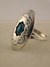TURQUOISE STERLING SILVER CONCHO SHADOWBOX RING SZ 6 1/2 NAVAJO
