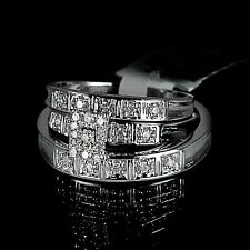 Mens Ladies White 10K Gold Genuine Real Diamond Ring Engagement Wedding Trio Set