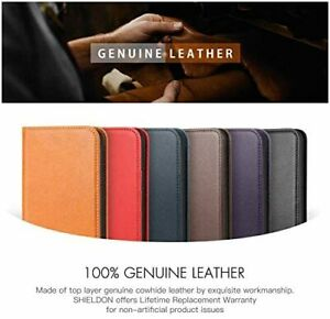 NEW SHIELDON Genuine Leather Flip Wallet Case Credit for iPhone Samsung Phone