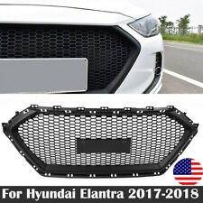 For Hyundai Elantra 2017-2018 Black ABS Front Bumper Hood Grille Middle Grill