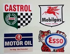 4 X GAS STATION PROMO VINYL STICKER DECAL OIL ESSO MOBILGAS NEPTUNE CASTROL