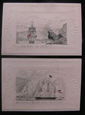 First Chilean Navy Squadron c.1819 Pair of Small Original Drawings of Warships