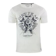 Mens T Shirt Firetrap Dokis Graphic Cotton Crew Neck Short Sleeve Tee Vaporous Grey Small