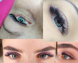 Ombre Colour mink Eyelash Extension Individual Blue Purple brown green reD 12mm
