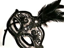 MASQUERADE BURLESQUE HEN PARTY BLACK FEATHER JEWELLED MASK WITH LACE FLOWERS
