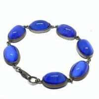 Art Deco and blue cats eye glass cabochon bracelet EPJ400